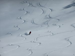 Excellent powder skiing outside of wind effected areas on north aspects!