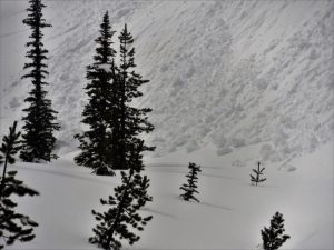 Toe of a large loose wet avalanche.  It was 5' deep in the valley