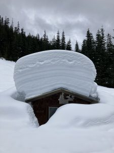The Excelsior Warming Hut at the Damfino Lakes Trailhead at 4200ft