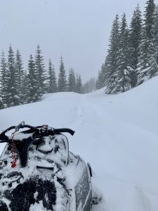 Sled track from the way in almost entirely covered in 2 hours (4,800ft)
