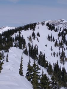 Cornices that grew large during last weekend's wind event have started to taper or sag due to springtime weather