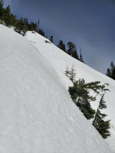Glide cracks on the East Face of McClellan Butte, at approx. 4700 feet, directly below the summit.