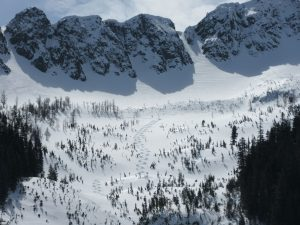 Good turns found below wind affected areas in the cirque