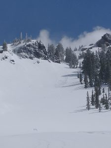 Small Dry Loose avalanche that was triggered once the sun came out around 11:30