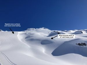 Wind-affected snow on the south side of Mt. Baker