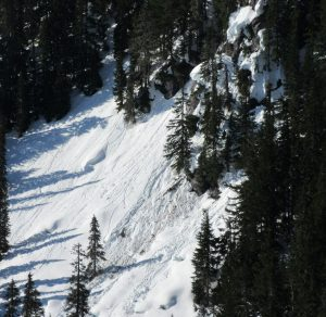 Snow pillows are peeling off rocks. NE at 4,200ft